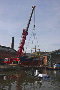 "Launching of Bristol Pilot Cutter ""Morwenna"", built by RB Boatbuilders, Underfall Yard, Bristol Floating Harbour. 16th March 2009.  -  Merryn Thomas"