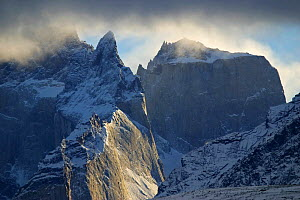 Snow covered granite mountains, Torres del Paine National Park, Chile, July 2004  -  Freya Short