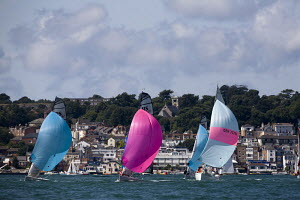 Mixed fleet of Hunter 707s and RS-Elites sailing downwind with Cowes in the background. Cowes Week, Isle of Wight, August 2009.  -  Richard Langdon
