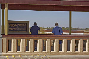 Pedestrian bridge over the Rio Grande at Progresso, the US / Mexico border wall is viewed by tourists walking from the US side, Lower Rio Grande Valley wildlife corridor, Texas, USA ILCP RAVE January/... - Shattil & Rozinski
