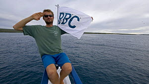 Mark Brownlow, producer and photographer, on location for BBC NHU series, Galapagos, March 2008 - Mark Brownlow