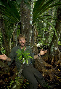 Mark Brownlow, producer, in rainforest, Solomon Islands, Pacific ocean, May 2008 - Mark Brownlow