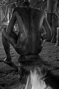 Young men searing their body scars with heat after the initiation ceremony in which scars are cut into their flesh to represent the men being swallowed by a crocodile and reborn as crocodile-men, Papu...  -  Mark Brownlow