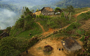 Aerial view of mountain village in Papua New Guinea, August 2007  -  Mark Brownlow