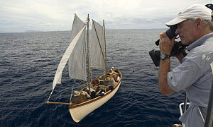 Filming BBC actors in re-enactment of the Whaleboat drama following the sinking of the Whaleship Essex by Sperm whales in the South pacific in 1820. February 2008 - Mark Brownlow
