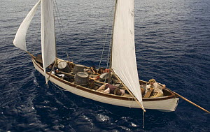 BBC actors in re-enactment of the Whaleboat drama following the sinking of the Whaleship Essex by Sperm whales in the South pacific in 1820. February 2008 - Mark Brownlow