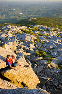 Hiker on the summit of Mount Monadnock, Monadnock State Park, New Hampshire, USA, August 2008 - Jerry Monkman