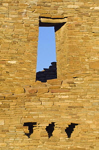 Doorway / window in ancient ruins of Pueblo Bonito at dawn, dwelling of the native american Pueblo people, Chaco Culture National Historical Park, New Mexico, USA, February 2009  -  Rob Tilley