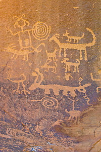 Rock engravings of the native american Pueblo people, Chaco Culture National Historical Park, New Mexico, USA, February 2009  -  Rob Tilley