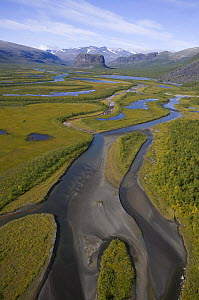 Aerial view over Laitaure delta in the Rapadalen valley with Skierffe and Nammatj mountains, Sarek National Park, Laponia World Heritage Site, Lapland, Sweden, September 2008.  -  Wild Wonders of Europe / Cairns