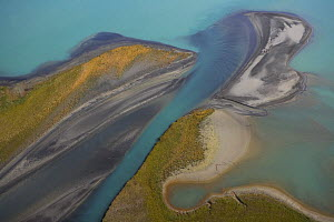 Aerial view over Lake Laitaure showing silt deposits from the Rapa river forming sand spits and vegetational growth, Sarek National Park, Sweden., September 2008  -  Wild Wonders of Europe / Cairns