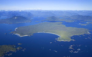 Aerial view of Vargas Island, Clayoquot Sound, Vancouver Island, British Columbia, Canada  -  Matthew Maran