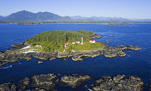 Aerial view of Lennard Lighthouse, Clayoquot Sound, Vancouver Island, British Columbia, Canada  -  Matthew Maran