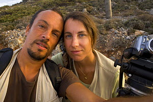 Photographer, Stefano Unterthiner, and his wife, St�phanie Francoise, on his Wild Wonders of Europe mission on Eleonora's falcons (Falco eleonorae) Greece, September 2008 - Wild Wonders of Europe / Unterthiner