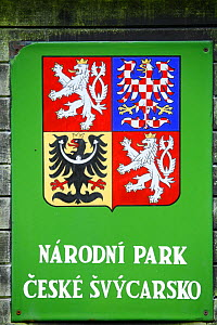 Coat of arms of the Ceske Svycarsko / Bohemian Switzerland National Park, Krinice River, Kyov, Czech Republic, September 2008  -  Wild Wonders of Europe / Ruiz