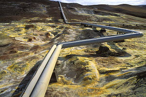 Pipes carrying heated water from the geothermal power plant in Krafla volcano area, northern Iceland 2005 - Jouan & Rius