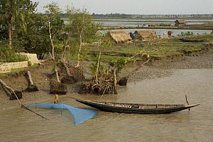 A net is set for catching shrimp fry along the Passur River. Mud and thatch houses of shrimp fry fisherman and shrimp ponds visible in the background, Sundarbans, Khulna Province, Bangladesh, April 20... - Tim Laman
