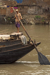 Man operating the oars to power a cargo boat on the Rupsha River, Sundarbans, Khulna, Bangladesh, April 2006 - Tim Laman