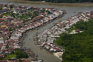 Aerial view of Sepetang fishing village, on the edge of the Matang mangrove forest. Healthy mangroves promote a healthy fishery. Taiping vicinity, Perak, Malaysia. May 2006 - Tim Laman