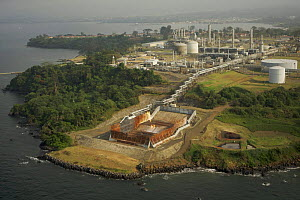 Aerial view of Oil Company facilities at Malabo, Bioko Island, Equatorial Guinea, Central Africa, January 2008  -  Tim Laman