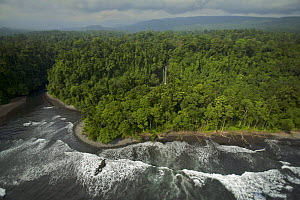 Aerial view of the south coast of Bioko Island, Equatorial Guinea, Central Africa, January 2008  -  Tim Laman