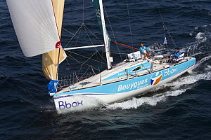"""Bbox Bouygues Telecom"" (Frederic Duthil and Francois Lebourdais) on the Brest/Piriac leg, in the Passage du Raz de Sein, during the Tour de Bretagne, September 2009. - Benoit Stichelbaut"
