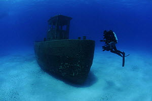 Cameraman Michael Pitts on wreck of the ''Blue Plunder'', Bahamas. August 2008.  -  Michael Pitts