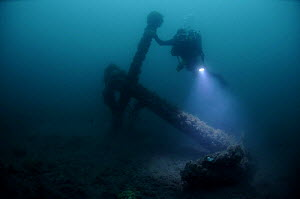 Diver at 30 meters, with an unknown anchor off the south coast, UK. September 2009. - Michael Pitts