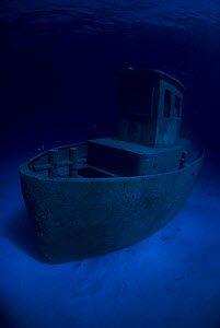 Wreck of tugboat ''Blue Plunder'' at night off Nassau, Bahamas. January 2008.  -  Michael Pitts