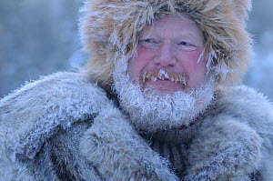 Man at Roros market which has been there since 1854, exhibitors and vendors come from a long way off, travelling by horse and sleigh, -35 degrees centigrade, Dovrefjell National Park, Norway, February...  -  Wild Wonders of Europe / Munier