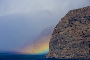 Acantilado de los Gigantes (Giant's cliffs) with a rainbow over the sea, West Tenerife, Canary Islands, Spain, December 2008 - Wild Wonders of Europe / Relanzón