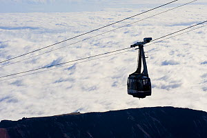 Cable car to the Teide volcano (Spain 3,718m) over clouds at sunrise, Teide National Park, Tenerife, Canary Islands, Spain, December 2008 - Wild Wonders of Europe / Relanzón