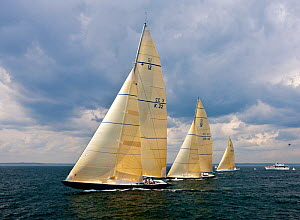 Yachts racing at the 12 Metre World Championships, Newport, Rhode Island, USA. September 2009.  -  Onne van der Wal