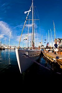 Wide angle view of yacht moored in marina. 12 Metre World Championships, Newport, Rhode Island, USA. September 2009.  -  Onne van der Wal