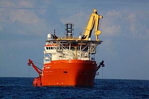 "Dive support vessel ""Normand Pioneer"" undertaking subsea operations on the North Sea, September  2009.  -  Philip Stephen"