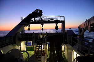 Looking aft on a trawler at dawn, North Sea, September 2009. Property released.  -  Philip Stephen