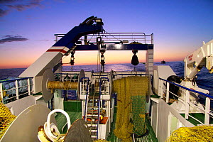 Looking aft on a trawler at dusk, North Sea, September 2009. Property released.  -  Philip Stephen