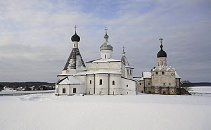 Winter landscape with Ferapontov Monastery, founded by Sain Ferapont in 1398, Russky Sever NP, Vologda Province, Russia, March 2009  -  Konstantin Mikhailov