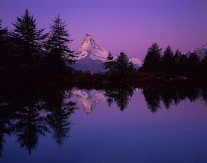 Matterhorn (4,478m) with reflection in Grindji lake at sunrise, Wallis, Switzerland, September 2008  -  Wild Wonders of Europe / Popp-Ha