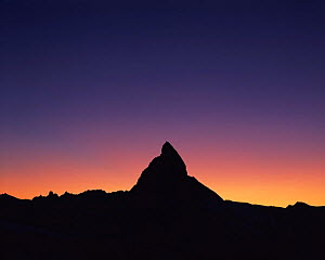 Matterhorn (4,478m) silhouetted at sunset, viewed from Gornergrat, Wallis, Switzerland, September 2008  -  Wild Wonders of Europe / Popp-Ha