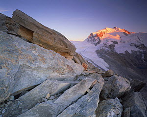 Monte Rosa (4,634m) viewed from Hoht�lligrat, at sunset, Wallis, Switzerland, September 2008  -  Wild Wonders of Europe / Popp-Ha