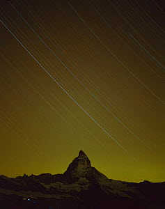 Matterhorn (4,478m) at night, with star trails, from Gornergrat, Wallis, Switzerland, September 2008  -  Wild Wonders of Europe / Popp-Ha
