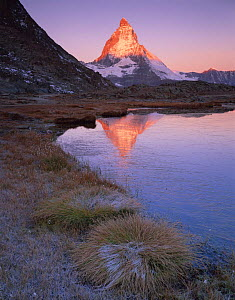 Matterhorn (4,478m) at sunrise with reflection in Riffel Lake, Wallis, Switzerland, September 2008  -  Wild Wonders of Europe / Popp-Ha
