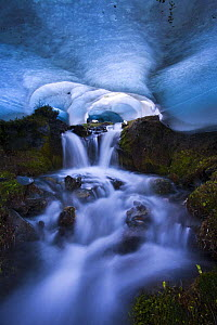 Ice cave with melting ice and waterfall, The Bailey Range, Olympic National Park, Washington, USA. Veolia Environnement Wildlife Photographer of the Year 2009: Highly Commended in the 'Wild Places' ca...  -  Floris van Breugel