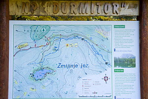 Map and information sign about Zmijinje Lake and the surrounding area, Durmitor NP, Montenegro, October 2008  -  Wild Wonders of Europe / Radisics