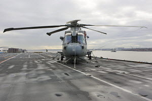 """Merlin HM Mk 1 ASW helicopter onboard HMS """"Illustrious"""", in Liverpool for Fly Navy 100 Day (100 years of Naval Aviation). Liverpool, Merseyside, England, October 2009.  All non-editorial uses must be... - Graham Brazendale"""