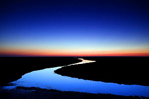 River at sunrise, Hallig Hooge, Germany, April 2009  -  Wild Wonders of Europe / Novák