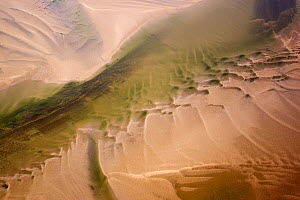 Aerial view of water channel in the sand, Hallig, Germany, April 2009  -  Wild Wonders of Europe / Novák