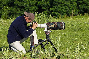 Photographer, Konrad Wothe, taking photographs for Wild Wonders of Europe mission, Slovakia, June 2008  -  Wild Wonders of Europe / Wothe