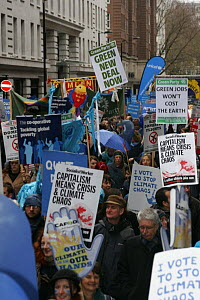 Protesters carrying signs, part of 'The Wave' climate change march ahead of the Copenhagen climate summit, London, UK, 5th December 2009  -  Tom Gilks